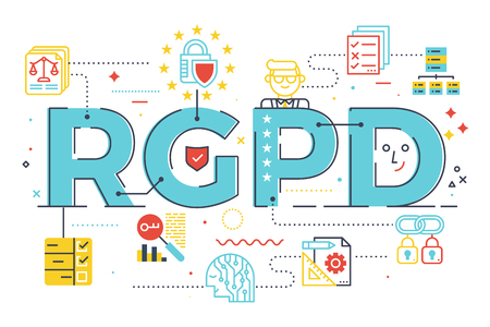 European GDPR (General Data Protection Regulation) word concept illustration in Spanish abbreviation (RGPD).