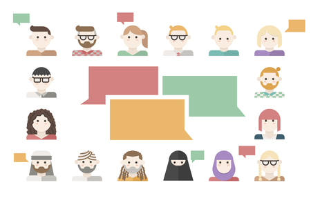 Customers feedback concept illustration with many human avatars. Illustration