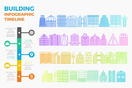 Building and cityscape timeline info-graphic template in colorful gradient line style.