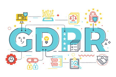 GDPR (General Data Protection Regulation) word lettering illustration with icons for web banner, landing page, essay.