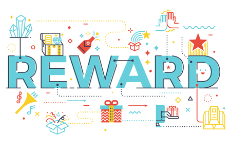 Reward word lettering illustration with icons for web banner, flyer, landing page, article.