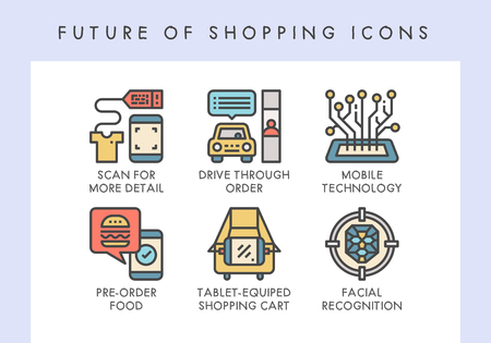 Future of shopping concept icons for website, blog, app, presentation, etc.