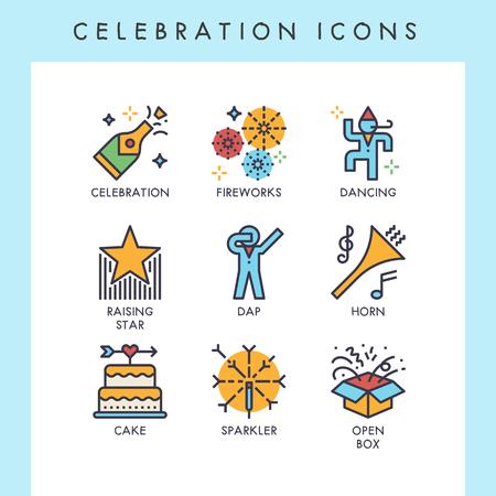 Celebration icons for web, app, website, user interface, card, etc.