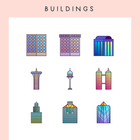 Building icons in futuristic gradient color style