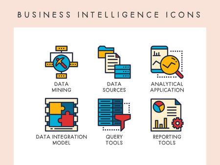 Icônes de concept de Business Intelligence pour site Web, application, blog, présentation, etc. Vecteurs