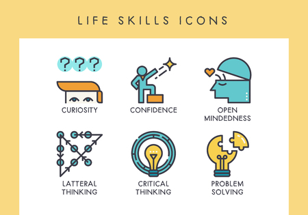 Life skill concept icons for web, app, presentation, etc. Çizim