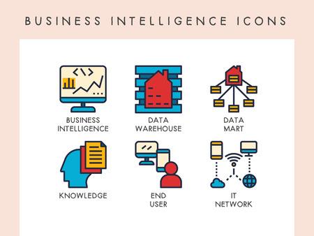 Business intelligence concept icons for website, app, blog, presentation, etc.