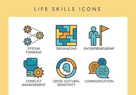 Life skill concept icons for web, app, presentation, etc. Illustration