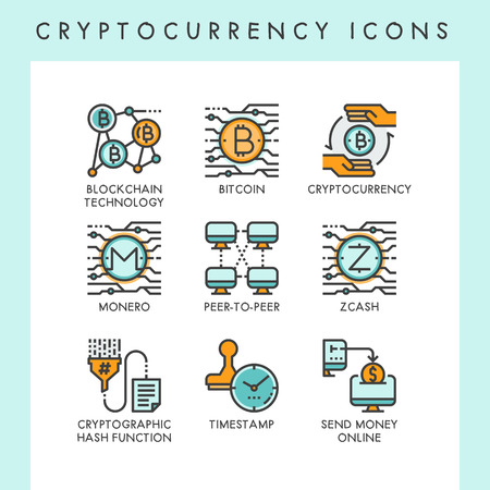 Cryptocurrency icons concept illustrations for web, app, website, report, presentation, etc.