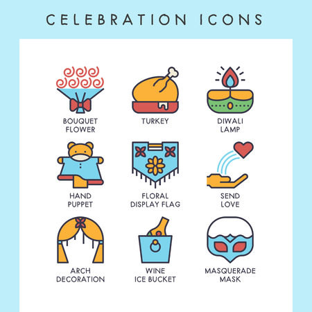 Celebration icons for web, app, website, user interface, card, etc. Banque d'images - 121824638
