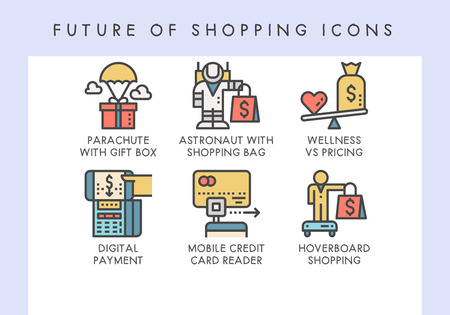 Future of shopping concept icons for website, blog, app, presentation, etc. Banque d'images - 121824640