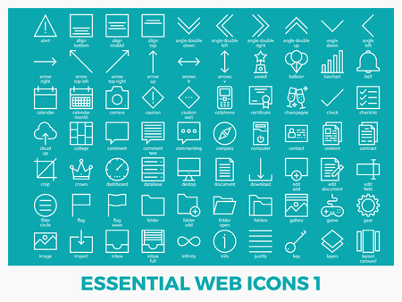 Essential mixed web icons set in modern line icon style for ui, ux, website, web, app graphic design