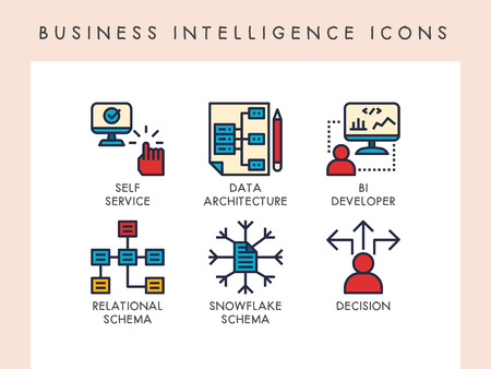 Business intelligence concept icons for website, app, blog, presentation, etc.