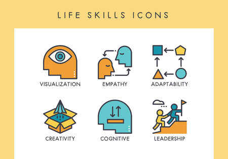 Life skill concept icons for web, app, presentation, etc. Stock Illustratie