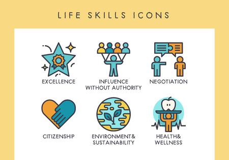 Lebenskompetenz-Konzeptsymbole für Web, App, Präsentation usw. Vektorgrafik