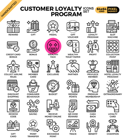 Customer loyalty concept icons set in modern line icon style for ui, ux, website, web, app graphic design