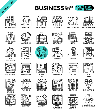 Business concept icon illustration set in modern line icon style for ui, ux, website, web, app graphic design