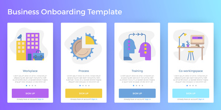 Business illustration mobile screen app onboarding user interface template for smartphone website Illustration