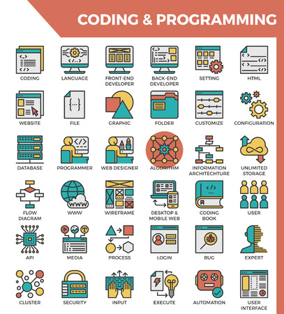 Coding & Programming concept detailed line icons set in modern line icon style concept for ui, ux, web, app design