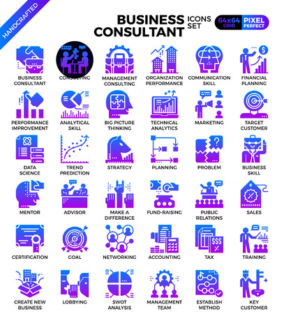 Business consultant icon illustration set in modern line icon style for ui, ux, website, web, app graphic design Illustration