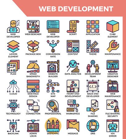 Web development concept detailed line icons set in modern line icon style for ui, ux, web, app design Vektorové ilustrace