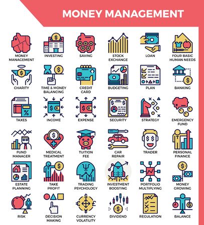 Money management concept detailed line icons set in modern line icon style for ui, ux, web, app design Stock Illustratie