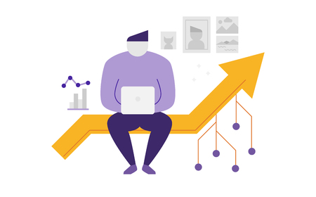 Abstract man sitting on a line graph in digital nomad concept illustration