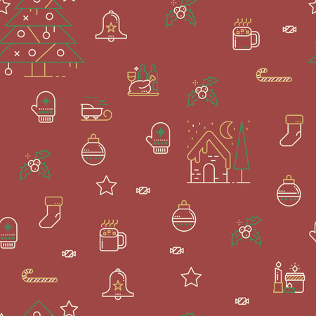 Seamless Christmas Pattern in vintage color style with cute christmas related icons Illustration