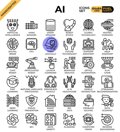 Artificial intelligence (AI) concept icons set in modern line icon style for ui, ux, web, mobile app design, etc.