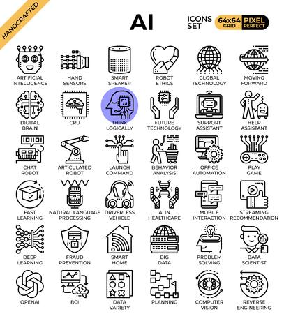 Icone del concetto di intelligenza artificiale (AI) impostate in stile icona linea moderna per ui, ux, web, progettazione di app mobili, ecc. Vettoriali