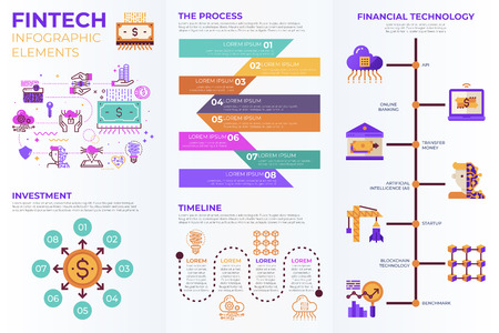 Fintech (Financial Technology)  infographic elements with illustrations and icons for data report and information presentation Ilustração