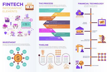 Fintech (Finanztechnologie)-Infografikelemente mit Illustrationen und Symbolen für Datenberichte und Informationspräsentationen Vektorgrafik