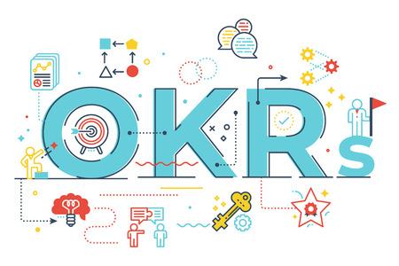 Ilustración de letras de palabras OKR (Objetivos y resultados clave) con iconos para banner web, volante, página de destino, presentación, portada de libro, artículo, etc.