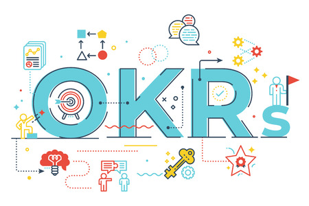 OKRs (Objectives and key results)word lettering illustration with icons for web banner, flyer, landing page, presentation, book cover, article, etc. Stock Illustratie