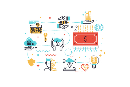 Fintech (Financial Technology) concept illustration with icons for web banner, flyer, landing page, presentation, book cover, article, etc. Vektorové ilustrace