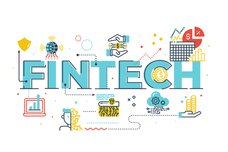 Fintech (Financial Technology) word lettering illustration with icons for web banner, flyer, landing page, presentation, book cover, article, etc.