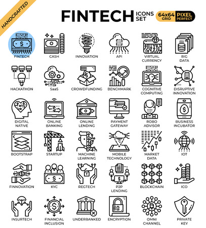 Fintech (Financial Technology) concept icons set in modern line icon style for ui, ux, web, mobile app design, etc. Banque d'images - 124157721