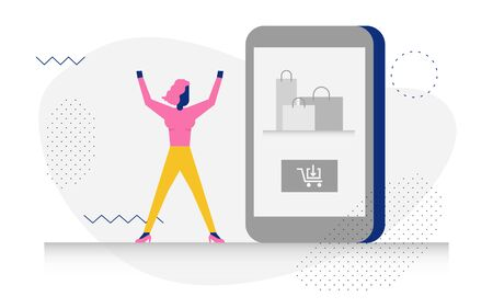 Happy modern character in shopping concept illustration for web banner, flyer, landing page, presentation, book cover, article, etc.
