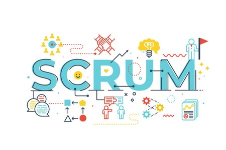 Scrum word lettering illustration with icons for web banner, flyer, landing page, presentation, book cover, article, etc. Vettoriali