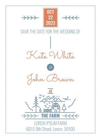 Wedding Invitation Card Template in minimal countryside farm house illustration Иллюстрация