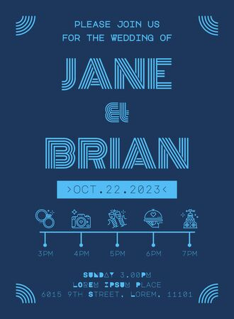 Wedding Invitation Card Template in futuristic blue line style Фото со стока - 131977328