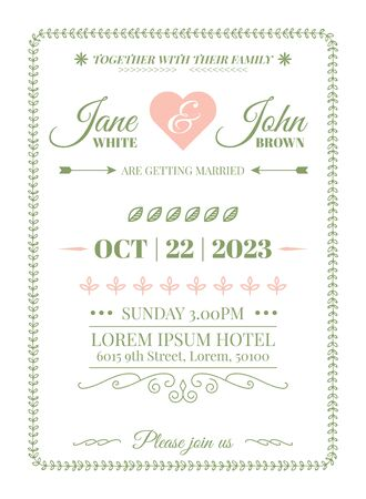 Wedding Invitation Card Template with vine boarder and calligraphy flourish in simple style Фото со стока - 131977167