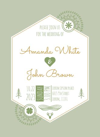 Wedding Invitation Card Template with green vine calligraphy flourish