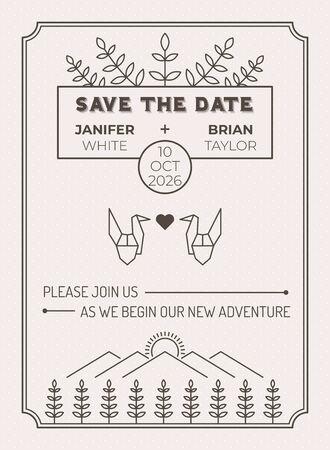Hochzeitseinladungskartenschablone mit Blatt- und Origamivogel über Wiesenfeldlinienillustration Vektorgrafik