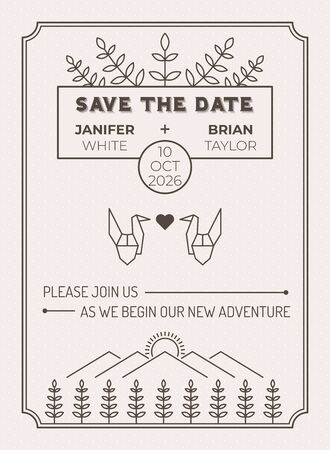 Plantilla de tarjeta de invitación de boda con hoja y pájaro de origami sobre ilustración de línea de campo de pradera Ilustración de vector
