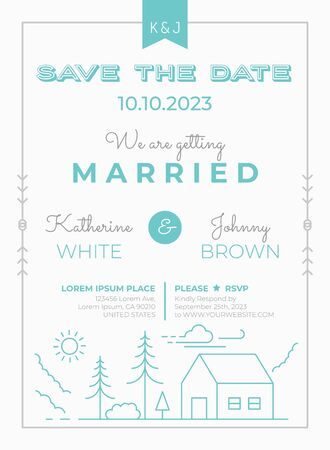 Wedding Invitation Card Template with lodge house line illustration in green mint theme Иллюстрация