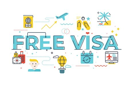 Free visa word lettering illustration with icons for web banner, flyer, landing page, presentation, book cover, article, etc.