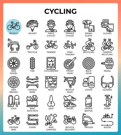 Cycling concept line icons set in modern style for ui, ux, web, app, brochure, flyer and presentation design, etc. Ilustração