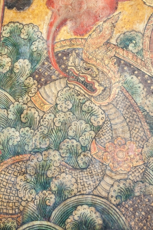 The Serpent painting on the wall of Thai temple photo