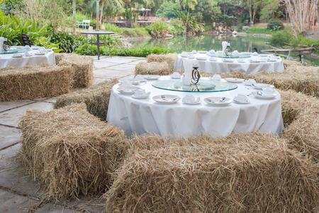 Disfrute de fiesta con césped de hierba rodeada.